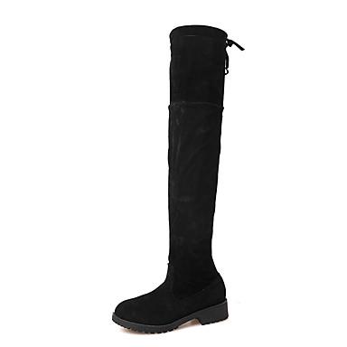 povoljno Ženske čizme-Žene Čizme Niska potpetica Okrugli Toe Mikrovlakana Čizme preko koljena Ležerne prilike Hodanje Proljeće / Jesen zima Crn