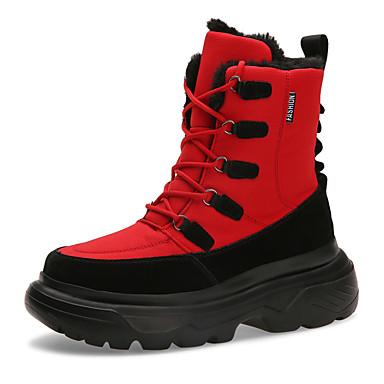 voordelige Dameslaarzen-Dames Laarzen Creepers Ronde Teen Canvas / Synthetisch Kuitlaarzen Informeel / Dad Shoes Winter / Herfst winter Zwart / Wit / Rood