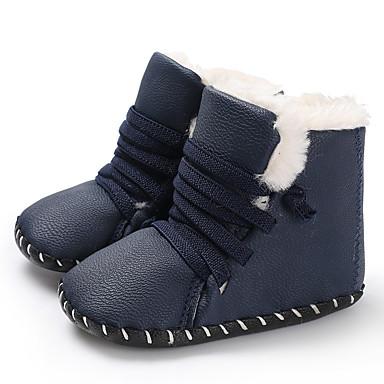 halpa Lasten saappaat-Poikien / Tyttöjen PU Bootsit Vauvoilla (0-9m) / Taapero (9m-4ys) Ensikengät Valkoinen / Sininen / Ruskea Talvi