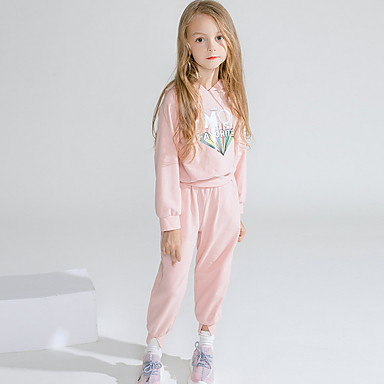 halpa Tyttöjen vaatteet-Taapero Tyttöjen Aktiivinen Geometrinen Painettu Pitkähihainen Normaali Vaatesetti Punastuvan vaaleanpunainen