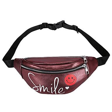 baratos Super Ofertas-Mulheres Ziper PU Bolsa de Cintura Côr Sólida Vermelho / Rosa / Vermelho Escuro / Outono & inverno