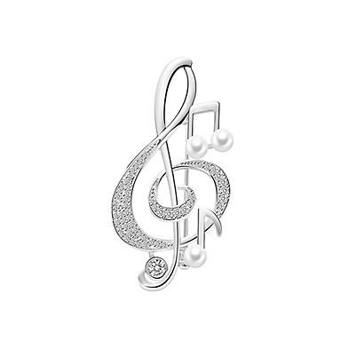 baratos Bijuteria de Mulher-Mulheres Broches Longas Nota Musical Luxo Na moda Doce Elegante Colorido Pérola Imitações de Diamante Broche Jóias Dourado Prata Para Casamento Presente Rua Promessa