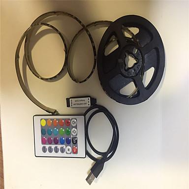 billige LED Strip Lamper-2m Fleksible LED-lysstriper / RGB-lysstriper / Fjernkontroller 60 LED SMD5050 1 24Kjør fjernkontrollen / 2 x USB-tilkoblingslinje RGB USB / Fest / Dekorativ USB-ladet 1set
