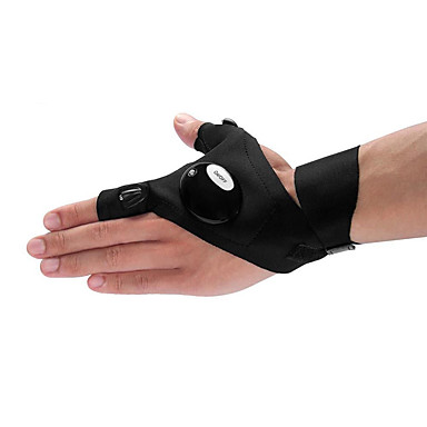 billige Utendørsbelysning-brelong svart utendørs fiskehansker led lommelykt camping fjellklatring redningsverktøy venstre hanske