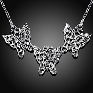 billige Mote Halskjede-Dame Anheng Halskjede geometriske Sommerfugl Mote Sølvplett Sølv 45+5 cm Halskjeder Smykker 1pc Til Daglig Arbeid