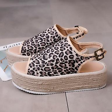 Kadın's Sandaletler Creepers Burnu Açık PU Yaz Siyah / Leopar / Bej