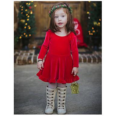 baratos Vestidos para Meninas-Bébé Para Meninas Doce Estilo bonito Papai Noel Sólido Frente Única Laço Pregueado Manga Longa Altura dos Joelhos Vestido Vermelho