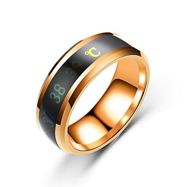 billige Motering-Herre / Dame Band Ring / Ring / Tail Ring 1pc Svart / Rose Gull / Gull Rustfritt Stål Sirkelformet Vintage / Grunnleggende / Mote Gave / Daglig / Love Kostyme smykker