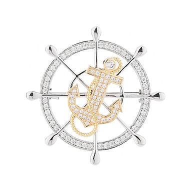 Kadın's Kübik Zirconia Broşlar Çapa Şık Basit Tatlı Moda ordu Broş Mücevher Altın / Gümüş Uyumluluk Düğün Parti Nişan Hediye Çalışma
