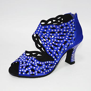 hesapli Dans Ayakkabıları-Kadın's Dans Ayakkabıları Saten Latin Dans Ayakkabıları Kristal Detaylar / Kristaller / Yapay Elmaslar Topuklular Küba Topuk Kişiselleştirilmiş Beyaz ve Mor / Badem / Mavi