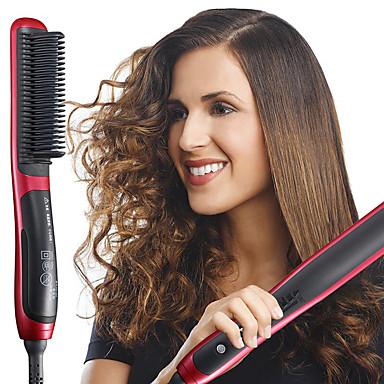 voordelige Haarverzorging-snelle stijltang kam duurzaam elektrisch steil haar kam temperatuur instelbare borstelstyler