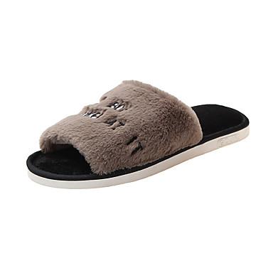 voordelige Damespantoffels & slippers-Unisex Slippers & Flip-Flops Platte hak Open teen Kwastje Imitatiebont Informeel Wandelen Herfst winter Wit / Rood / Roze
