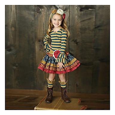 billige 10/09-Barn Jente Grunnleggende Stripet Langermet Tøysett Regnbue
