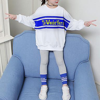 baratos Conjuntos para Meninas-Infantil Bébé Para Meninas Básico Moda de Rua Para Noite Casual Estampado Bordado Manga Longa Curto Curto Conjunto Branco