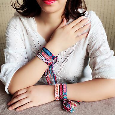 abordables Bracelet-Bracelet à maillons fait main Femme Tressé Thème floral Bohème Décontracté / Sport Le style mignon Bracelet Bijoux Noir Rouge Bleu pour Quotidien