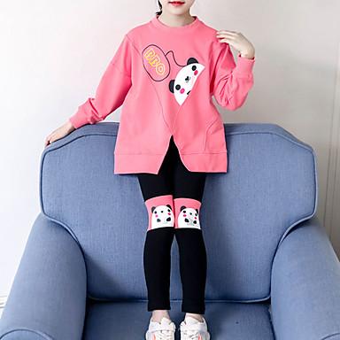 levne Sady oblečení-Děti Toddler Dívčí Základní Šik ven Jdeme ven Běžné / Denní Tisk Rozparek Tisk Dlouhý rukáv Krátké Krátké Sady oblečení Fuchsiová
