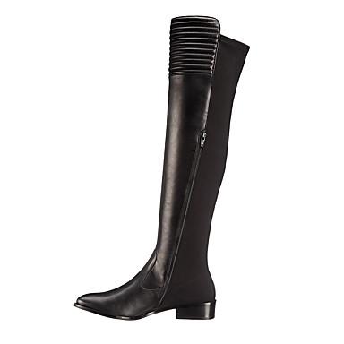 voordelige Dameslaarzen-Dames Laarzen Lage hak Gesloten teen Imitatieleer Knielaarzen Brits / minimalisme Lente & Herfst / Winter Zwart