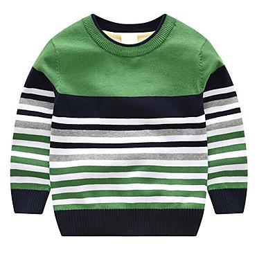 저렴한 남아 스웨터&가디건-아동 남아 베이직 줄무늬 긴 소매 스웨터 & 가디건 옐로우