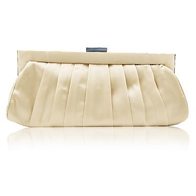お買い得  バッグ-女性用 クリスタル装飾 サテン イブニングバッグ 純色 ゴールド / ルビーレッド