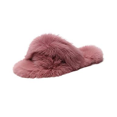 voordelige Damespantoffels & slippers-Dames Slippers & Flip-Flops Platte hak Peep Toe Imitatiebont Informeel Wandelen Lente zomer / Herfst winter Fuchsia / Groen / Khaki
