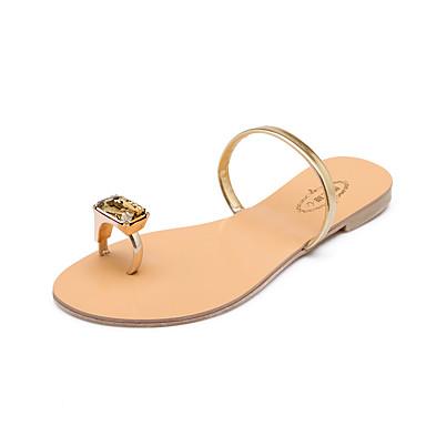 voordelige Damespantoffels & slippers-Dames Slippers & Flip-Flops Platte hak Open teen PU Zomer Zwart / Goud / Rood