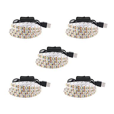 billige LED Strip Lamper-1m usb fleksible led lysstrimler 60 leds smd3528 5mm varm hvit / hvit / rød vanntett / fest / dekorativ 5 v 5stk