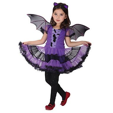 povoljno Haljine za djevojčice-Djeca Djevojčice Aktivan Geometrijski oblici Print Kratkih rukava Iznad koljena Haljina purpurna boja