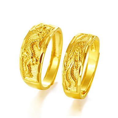 voordelige Dames Sieraden-Voor Stel Ringen voor stelletjes Ring 1pc Goud Goud Rose Koper Cirkelvormig Etnisch Modieus Bruiloft Sieraden Draken Dier Cool