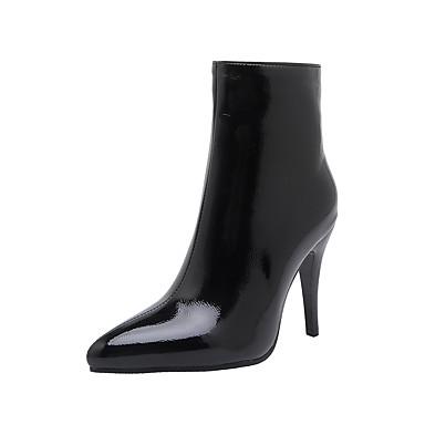 voordelige Dameslaarzen-Dames Laarzen Naaldhak Gepuntte Teen Lakleer Korte laarsjes / Enkellaarsjes Informeel / minimalisme Winter Zwart / Wijn / Wit