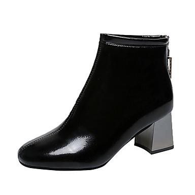 voordelige Dameslaarzen-Dames Laarzen Blokhak Ronde Teen Strass PU Brits / minimalisme Herfst winter Zwart / Beige / Feesten & Uitgaan