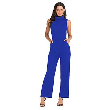 voordelige Nieuwe collectie-Dames Standaard Zwart blauw Rood Jumpsuit, Effen S M L
