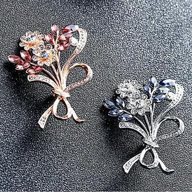 hesapli Moda Broşlar-Kadın's Broşlar Leaf Shape Çiçek Şık Broş Mücevher Altın Gümüş Uyumluluk Günlük