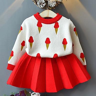 levne Sady oblečení-Děti Dívčí Základní Barevné bloky Dlouhý rukáv Sady oblečení Světlá růžová
