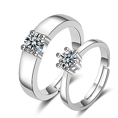 voordelige Dames Sieraden-Voor Stel Ringen voor stelletjes Ring 1pc Wit Zilver Koper Cirkelvormig Standaard Koreaans Modieus Bruiloft Sieraden