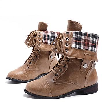 voordelige Dameslaarzen-Dames Laarzen Lage hak Ronde Teen Siernagel / Gesp / Knoop Imitatieleer Kuitlaarzen Klassiek / Brits Herfst winter Zwart / Bruin / Koffie