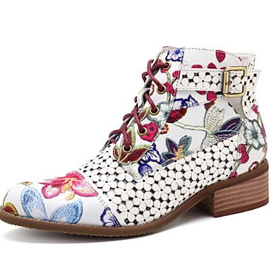 povoljno Ženske čizme-Žene Čizme Ravna potpetica Okrugli Toe PU Čizme gležnjače / do gležnja Jesen zima Crn / Crvena