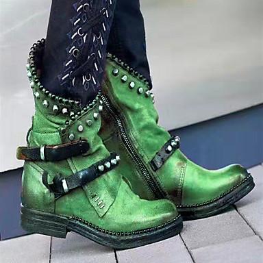 Недорогие Женские ботинки-Жен. Ботинки Блочная пятка Круглый носок Полиуретан Сапоги до середины икры Наступила зима Черный / Лиловый / Зеленый