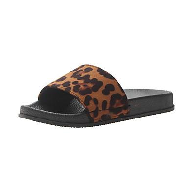 voordelige Damespantoffels & slippers-Dames Slippers & Flip-Flops Platte hak Ronde Teen PU Zomer Zwart / Geel / Beige / Luipaard