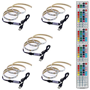 billige LED Strip Lamper-1m Fleksible LED-lysstriper / RGB-lysstriper / Fjernkontroller 60 LED SMD5050 1 44Kjør fjernkontrollen Multifarget Vanntett / USB / Fest 5 V 5pcs
