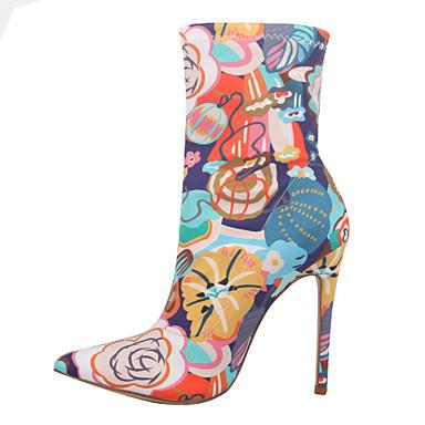 povoljno Ženske čizme-Žene Čizme Stiletto potpetica Krakova Toe Elastična tkanina Čizme do pola lista slatko Proljeće & Jesen žuta / Plava