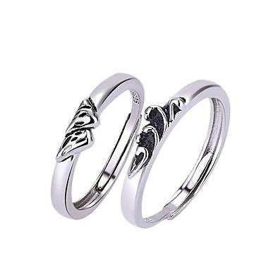 voordelige Dames Sieraden-Voor Stel Ringen voor stelletjes Ring 1pc Wit Zilver Koper Cirkelvormig Standaard Koreaans Modieus Lahja Belofte Sieraden