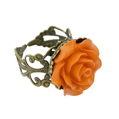 billige Motering-Dame Ring 1pc Gul Blå Rosa Harpiks Legering Kunstnerisk Luksus Unikt design Halloween Engasjement Smykker Flower Shape Kul Smuk