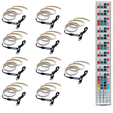 billige LED Strip Lamper-0.5m Fleksible LED-lysstriper / RGB-lysstriper / Fjernkontroller 30 LED SMD5050 1 44Kjør fjernkontrollen Multifarget Vanntett / Kreativ / Fest 5 V 10pcs