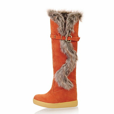 voordelige Dameslaarzen-Dames Laarzen Platte hak Ronde Teen Suède Kuitlaarzen Winter Zwart / Bruin / Oranje