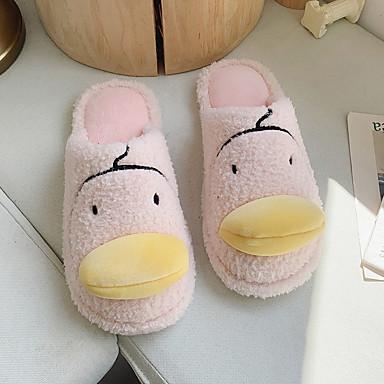 voordelige Damespantoffels & slippers-Dames Slippers & Flip-Flops Platte hak Ronde Teen Katoen / Imitatiebont Informeel Wandelen Winter Geel / Bordeaux / Roze