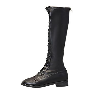 voordelige Dameslaarzen-Dames Laarzen Blokhak Ronde Teen PU Herfst winter Zwart