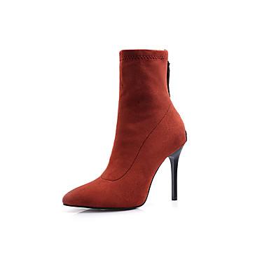 voordelige Dameslaarzen-Dames Laarzen Naaldhak Gepuntte Teen Synthetisch Korte laarsjes / Enkellaarsjes Informeel / minimalisme Winter Zwart / Paars / Oranje