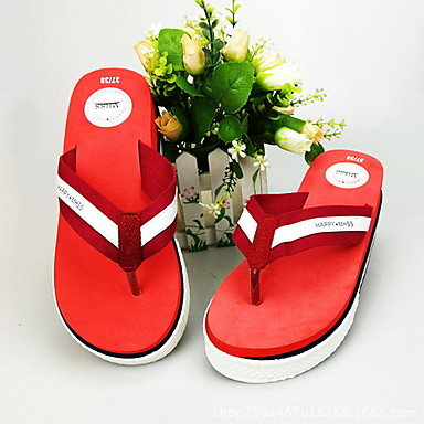 voordelige Damespantoffels & slippers-Dames Slippers & Flip-Flops Platte hak Ronde Teen Canvas Zomer Zwart / Rood / Blauw
