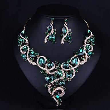 voordelige Dames Sieraden-Dames Synthetische Smaragd Oorknopjes Ketting Statement Modieus oorbellen Sieraden Groen Voor Feest 1 set