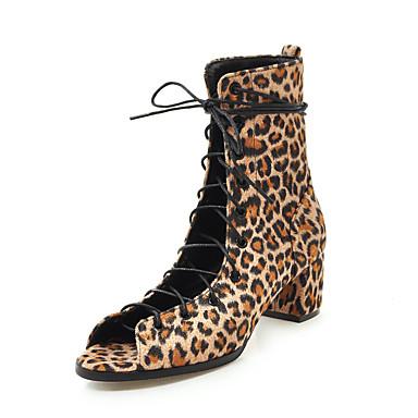 voordelige Dameslaarzen-Dames Laarzen Blokhak Open teen PU Kuitlaarzen Vintage / Brits Herfst winter Zwart / Luipaard / Feesten & Uitgaan